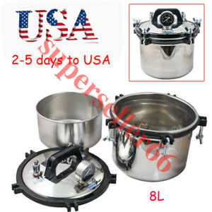 Medical Dental Equipment Stainless Steel Pressure Steam Autoclave Sterilizer 8l