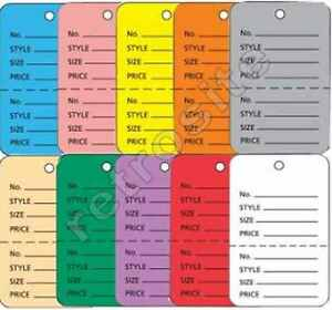 Merchandise Coupon Price Tags Without Strings Unstrung Perforated Colors sizes