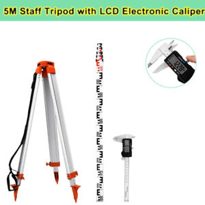 1 65m Aluminum Tripod 5m Section Staff Set Tool For Rotary Laser Level