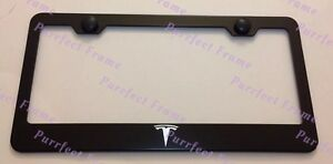 Tesla Logo Laser Style Black Stainless Steel License Plate Frame W Bolt Caps