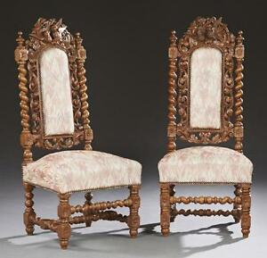 Gorgeous Pair Of French Henri Ii Style Carved Side Chairs 19th Century 1800s