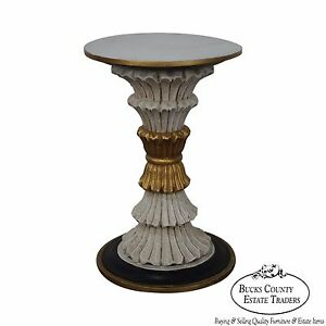 Regency Style Painted Gilt Accent Round Pedestal Stand