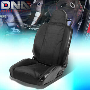 Reclinable Black Stripe Pvc Leather Sporty Bucket Race Racing Seat Right Side
