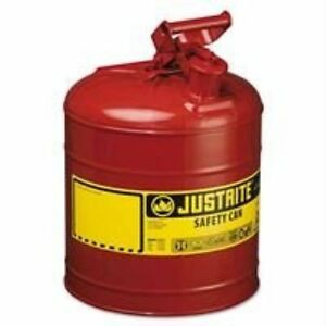 Justrite 7150100 Type I Safety Can 5 Gal 11 3 4 x 16 7 8 Self venting Steel