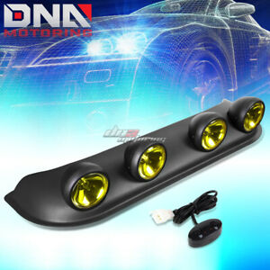 4x4 Black Housing Yellow Lens Off Road Roof Top Mounted Round Fog Light Lamp