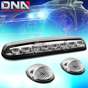 For 02 07 Silverado sierra 3x Chrome Cab Roof Top White Led Marker Lights Lamps