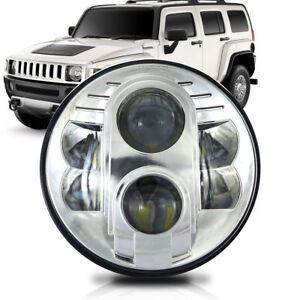 7 Inch Round Led Projector Hi Lo Chrome Headlight For Hummer H1 H2 H3 1pcs