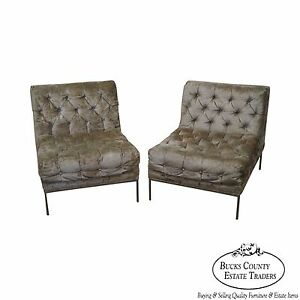 Milo Baughman Pair Of Mid Century Modern Chrome Frame Tufted Lounge Chairs B