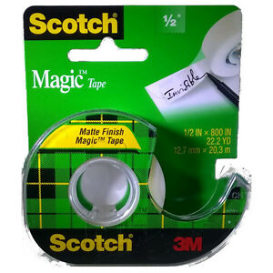 3m Scotch Magic Tape 119 W refillable Dispenser 1 2 X 800 Clear 144 Rolls