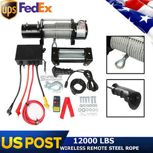 12v 12000lbs Electric Winch With Steel Wire Rope Wireless Remote Control Suv Usa