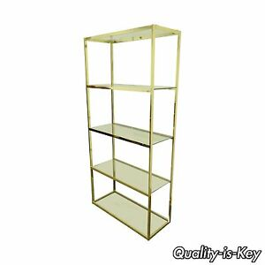 Vintage Etagere Bookcase Mid Century Modern Gold Hollywood Regency Brass