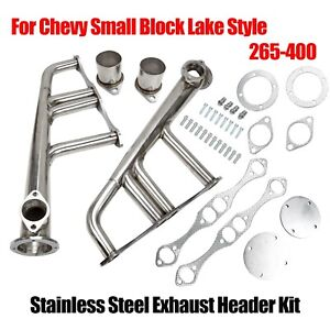 Small Block 4 1 Lake Style Stainless Steel Exhaust Header Kit For Chevy 265 400