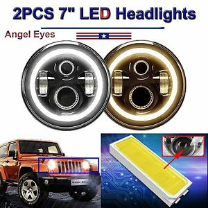 2 7inch Cree Led Headlights Upgrade Hi Low Beam Round Kit For Vw Beetle Classic