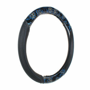 Steering Wheel Cover Blue M 15 38cm Universal For Cars Autos Synthetic Leather