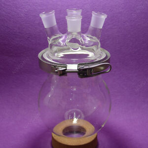 2000ml Reaction Flask 24 29 4 neck Separately Round Bottom Flask with Clamp
