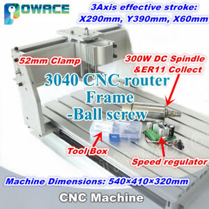3040 Ball Screw Cnc Wood Router Engraving Machine Kit 52mm 300w Er11 Dc Spindle
