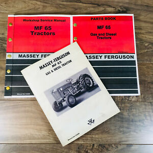 Set Massey Ferguson 65 Tractor Service Parts Catalog Operators Manual Shop Book