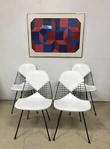 Set Of 4 Herman Miller Dkx Eames X Base Bikini Wire Chairs Mcm