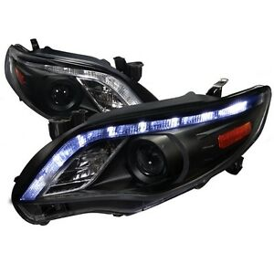 2011 2013 Toyota Corolla Led Drl Projector Headlights Black Housing Trd Ce Sport