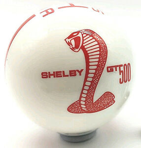 Standard Manual Ford Mustang Shelby Cobra Gt500 Shift Knob White Red 5 Speed