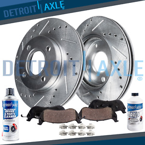For 1998 2002 Chevy Prizm Toyota Corolla Front Drill Brake Rotors Ceramic Pads