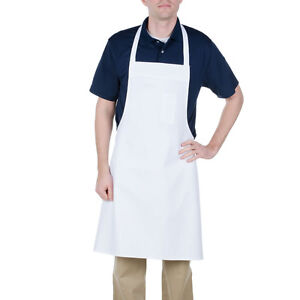 24 New White Bib Aprons Waiter Kitchen Cafe Chef Catering Cooking Sale