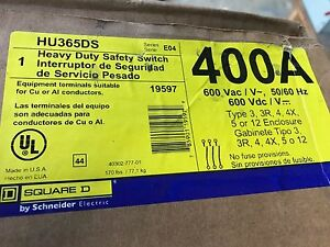 Hu365ds Square D Stainless 400amp 600volt Non fused Safety Disconnect Switch New