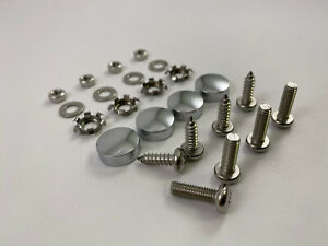 Chrome Metal License Plate Screw Caps With Free Screws