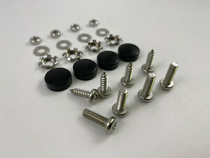 Black Metal License Plate Screw Caps With Free Screws