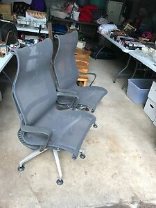 Herman Miller Setu Swivel Side Chairs In Dark Grey Mesh 500 00 Is For The Pair