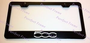 Fiat 500 Laser Style Black Stainless Steel License Plate Frame W Bolt Caps