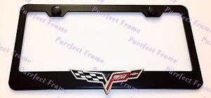 Corvette 3d Emblem Black Stainless Steel License Plate Frame Rust Free W Caps