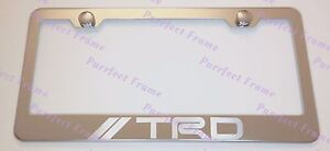 Toyota Trd Laser Style Stainless Steel License Plate Frame Rust Free W Bolt Cap