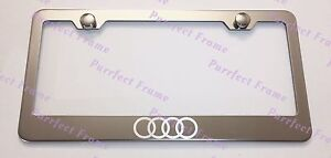 Audi Logo Laser Style Stainless Steel License Plate Frame Rust Free W Bolt Caps