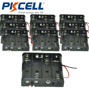 10pcs 2a Battery Holder 4 aa Cells Case Box With 6 Cable Leads For R6 Um3 Cell