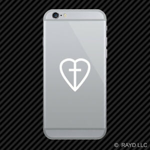 2x Heart With Cross Cell Phone Sticker Mobile Religious Faith Many Colors