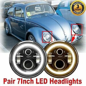 7 Inch Cree Led Headlights Upgrade Hi Low Beam Round Kit For Vw Beetle Classic