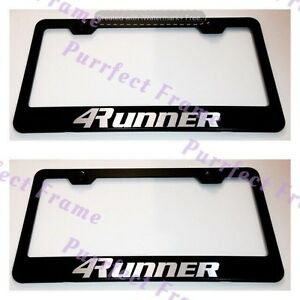 2x Toyota 4runner Black Stainless Steel License Plate Frame Rust Free W Caps