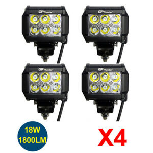4pcs 4 Inch Off Road 18w Led Fog Lamp Work Light Bar Suv Boat For 4wd Drl