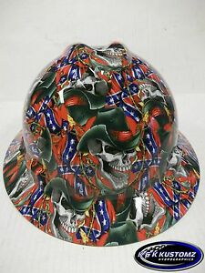 Rebel Cowboy Pattern New Custom Msa V gard full Brim Hard Hat W fastrac