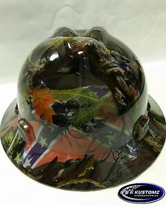 Southern Comfort Camo New Custom Msa V gard Hyrdodipped Full Brim Hard Hat