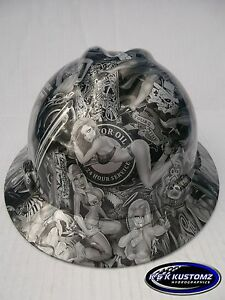 Naughty Boy Pattern Full Brim New Custom Msa V gard Hydro Dipped Hard Hat