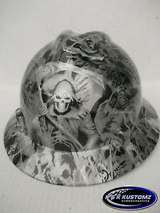 Grim Reaper Pattern Full Brim New Custom Msa V gard Hard Hat W fastrac Ratchet