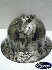 Gold High Stakes Pattern Full Brim New Custom Msa V gard Hard Hat W fastrac