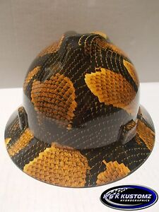 Yellow Boa Pattern Full Brim New Custom Msa V gard Hard Hat W fas trac Ratchet