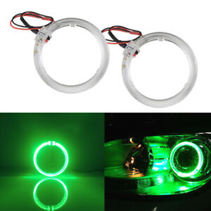 2pcs Green 2 5 Led Light Guide Angel Eyes Halo Rings For Car Headlight Retrofit