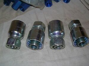 Parker 1ca43 18 12 Hydraulic Swivel Hose Fittings Lot Of 4pcs New