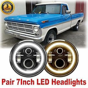 For Ford F100 1969 1979 2pcs Cree 7 Led Headlights Halo Drl Amber Turn Signal