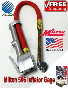 Milton S506 Dual Head Inflator Gauge 15 Air Hose 506 Gage Tire Changer 120 Psi