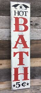 Large Primitive Wooden Sign Hot Bath Rustic Country Bathroom Distressed Home